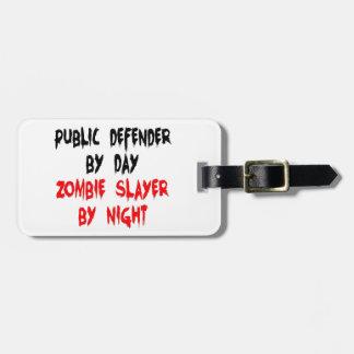 Asesino del zombi del defensor público etiqueta para maleta