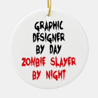 Asesino del zombi del diseñador gráfico adorno navideño redondo de cerámica