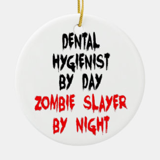 Asesino del zombi del higienista dental adorno navideño redondo de cerámica