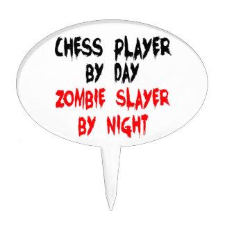 Asesino del zombi del jugador de ajedrez figuras para tartas