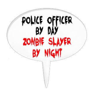 Asesino del zombi del oficial de policía figura para tarta