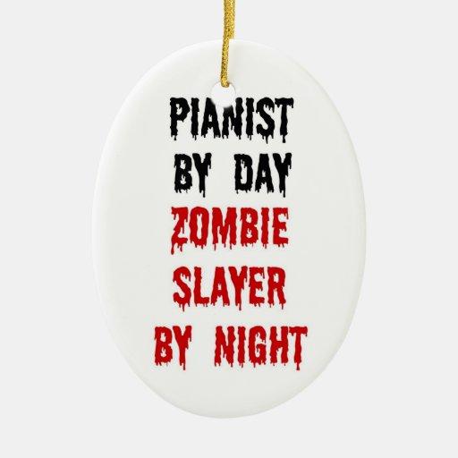 Asesino del zombi del pianista ornamentos de navidad