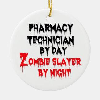 Asesino del zombi del técnico de la farmacia adorno navideño redondo de cerámica