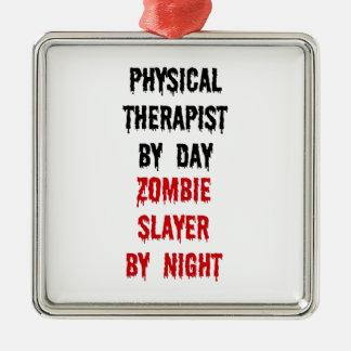 Asesino del zombi del terapeuta físico adorno navideño cuadrado de metal
