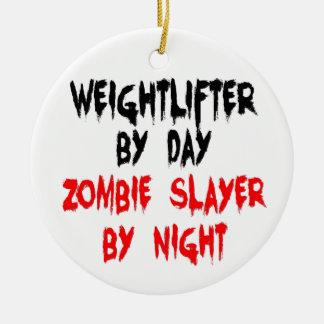 Asesino del zombi del Weightlifter Adorno Navideño Redondo De Cerámica