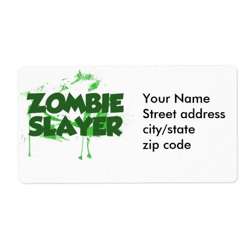 Asesino del zombi etiqueta de envío