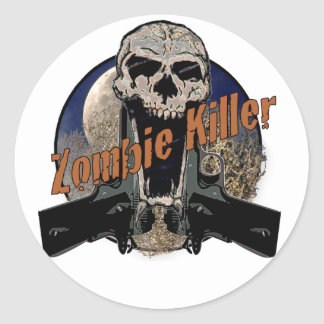 Asesino del zombi pegatina redonda