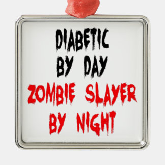 Asesino diabético del zombi adorno navideño cuadrado de metal