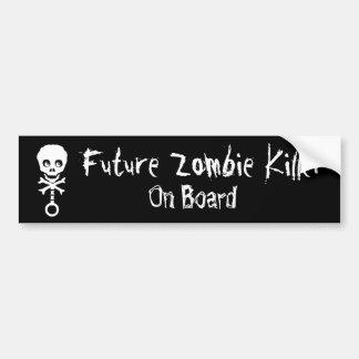 Asesino futuro del zombi a bordo pegatina de parachoque