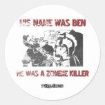 Asesino gráfico del zombi de la plantilla etiquetas redondas