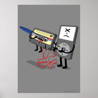 Asesino IPod Clipart (casete del disco blando retr Póster