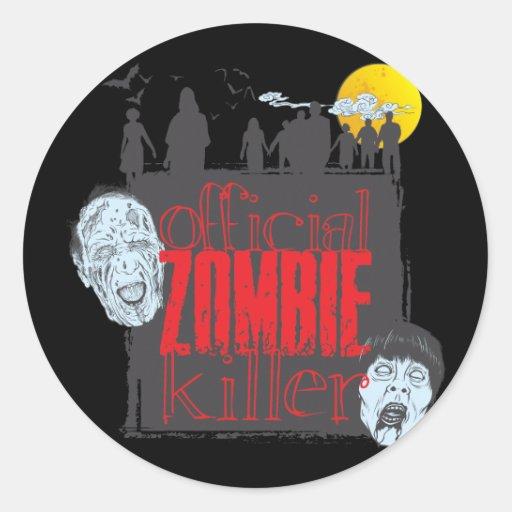 Asesino oficial del zombi pegatina redonda