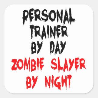 Asesino personal del zombi del instructor pegatina cuadrada