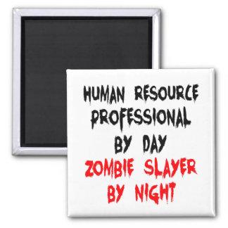 Asesino profesional del zombi del recurso humano imán cuadrado