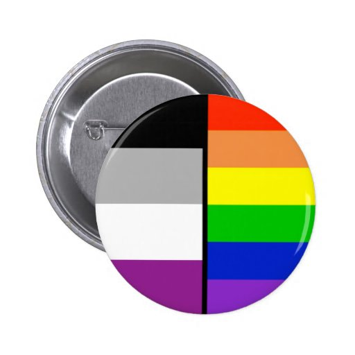 Asexual and Rainbow Flags Badge Button