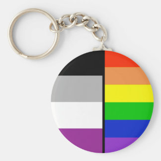 Asexual and Rainbow Flags Key Chain