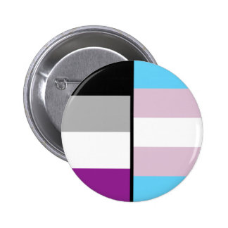 Asexual and Trans Flag badge 2 Inch Round Button