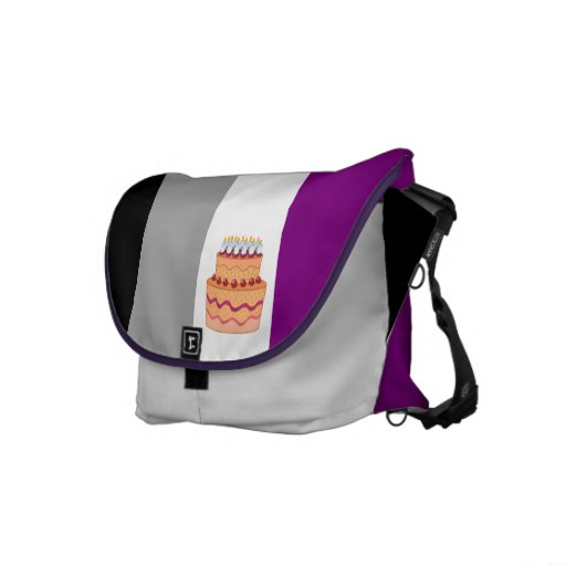Asexual flag messenger bag with cake