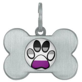 Asexual Pawprint Pet Name Tag
