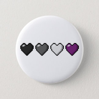 Asexual Pixel Hearts Pinback Button