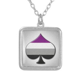 Asexual Pride Ace Symbol Square Pendant Necklace