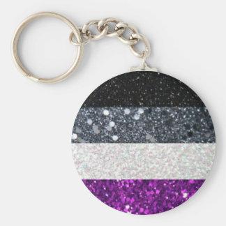 Asexual Pride glitter keychain