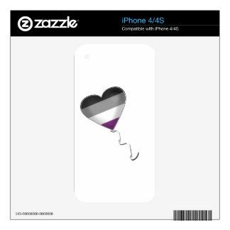 Asexual Pride Heart Balloon iPhone 4 Skins