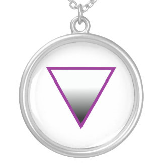 ASEXUAL TRIANGLE SYMBOL ROUND PENDANT NECKLACE