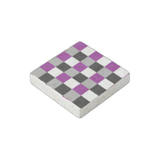 Asexuality colors checkered pattern stone magnet