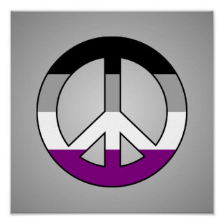 Asexuality flag peace sign poster
