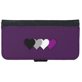 Asexuality pride hearts wallet phone case for iPhone 6/6s