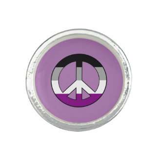 Asexuality pride peace symbol rings