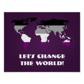 Asexuality pride world map poster