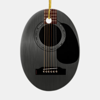 Ash Black Acoustic Guitar Double-Sided Oval Ceramic Christmas Ornament