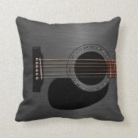 Ash Black Acoustic Guitar Throw Pillow