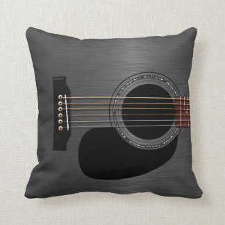 Ash Black Acoustic Guitar Throw Pillow