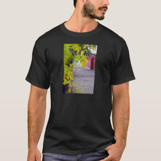 Ash branches with yellow leaves and pavement tiles T-Shirt