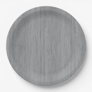 Ash Gray Bamboo Wood Grain Look Paper Plate