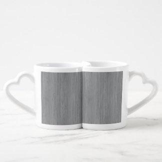 Ash Gray Bamboo Wood Look Couples' Coffee Mug Set
