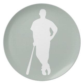 Ash Gray Baseball Dinner Plate