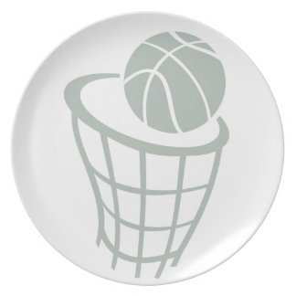 Ash Gray Basketball Party Plate