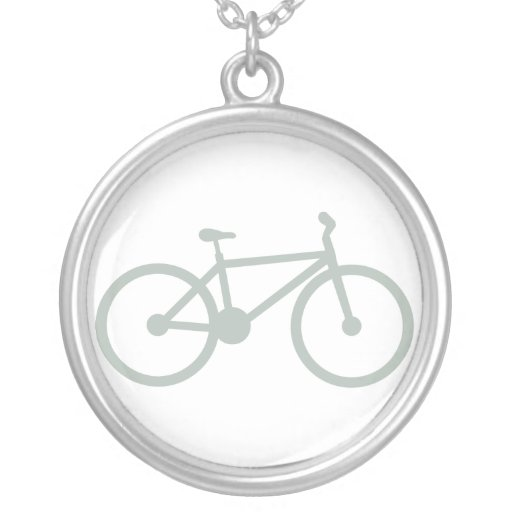 Ash Gray Bicycle Round Pendant Necklace