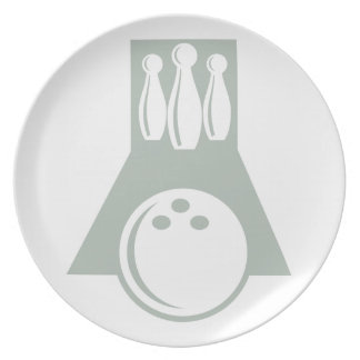 Ash Gray Bowling Party Plate