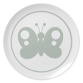 Ash Gray Butterfly Dinner Plate