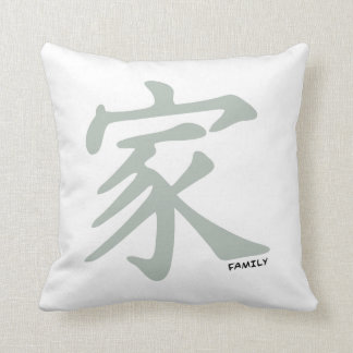 Ash Gray Chinese symbol for Family Throw Pillow