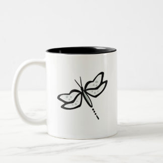 Ash Gray Dragonfly Two-Tone Coffee Mug