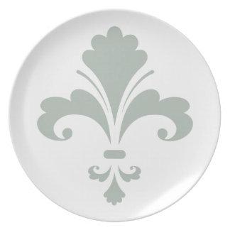 Ash Gray Fleur de lis Party Plate