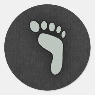 Ash Gray Footprint Classic Round Sticker