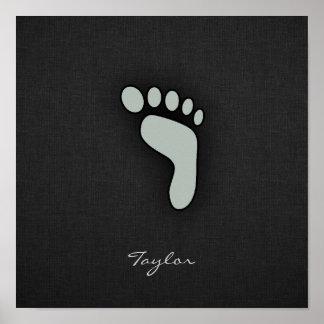 Ash Gray Footprint Poster