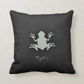 Ash Gray Frog Throw Pillow